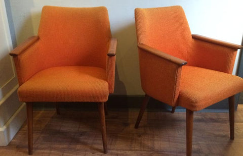 SOLD - 50s orange occasional armchairs