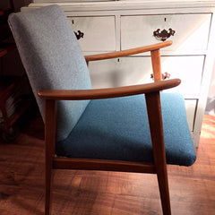 50s occasional chair in Designers guild aqua ombre wool felt
