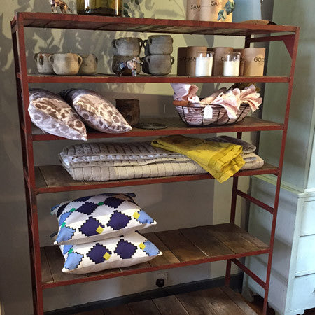 Vintage industrial steel shelves