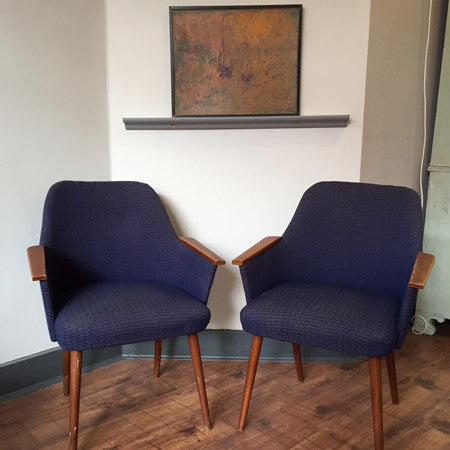 SOLD - 50s vintage blue occasional armchairs