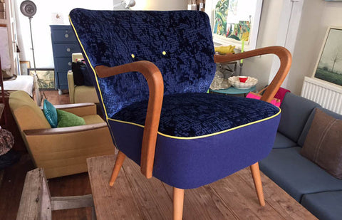 50s cocktail chair in blue Designers Guild velvet - NOW SOLD