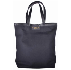 Canvas tote, fully lined with leather trim