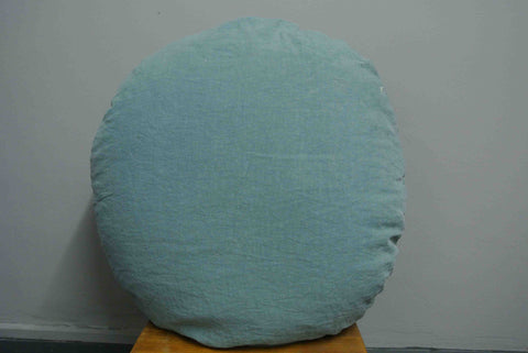 Large round French linen cushion