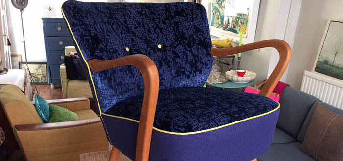 mid century armchair in Designers Guild dog tooth check fabric