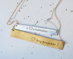 """I (heart) Tenderloin"" Horizontal Love Bar Necklace"