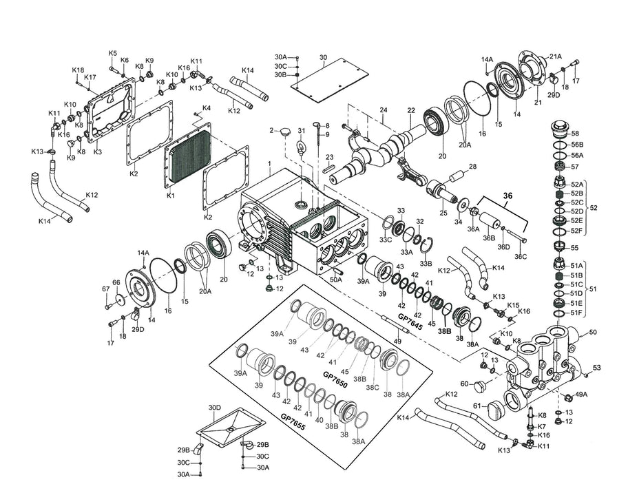 giant gp7655, sewer equipment 43805-00-X, exploded diagram, pump diagram, pump parts, giant pump parts,high pressure water pump, high pressure pump, water pump, jetter pump, jet-rodder pump, jetting pump, jet rodder pump, jetter depot, epa sales