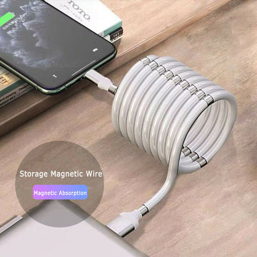 Magic Rope Magnetic Data Cable for Android IOS Type C Micro USB Magnetic Charging Cable Self Winding Data Cable Fast Charging