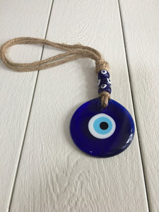 "Glass Evil Eye Wall Hanging- 3.25"" wide"