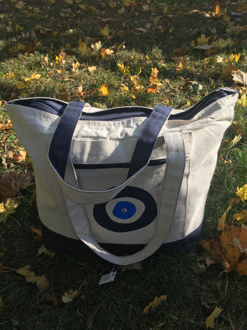 Zippered Evil Eye Canvas Tote Bag