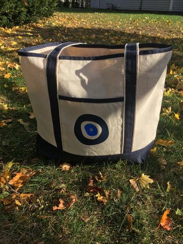 Canvas Evil Eye Tote Bag