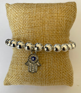 Silver Plated Evil Eye Bracelet with Hamsa Hand