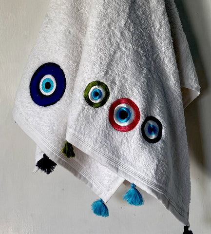 Evil Eye Bath Towel with Pompoms