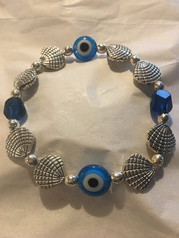 Silver plated seashells with light blue Evil Eye Bracelet