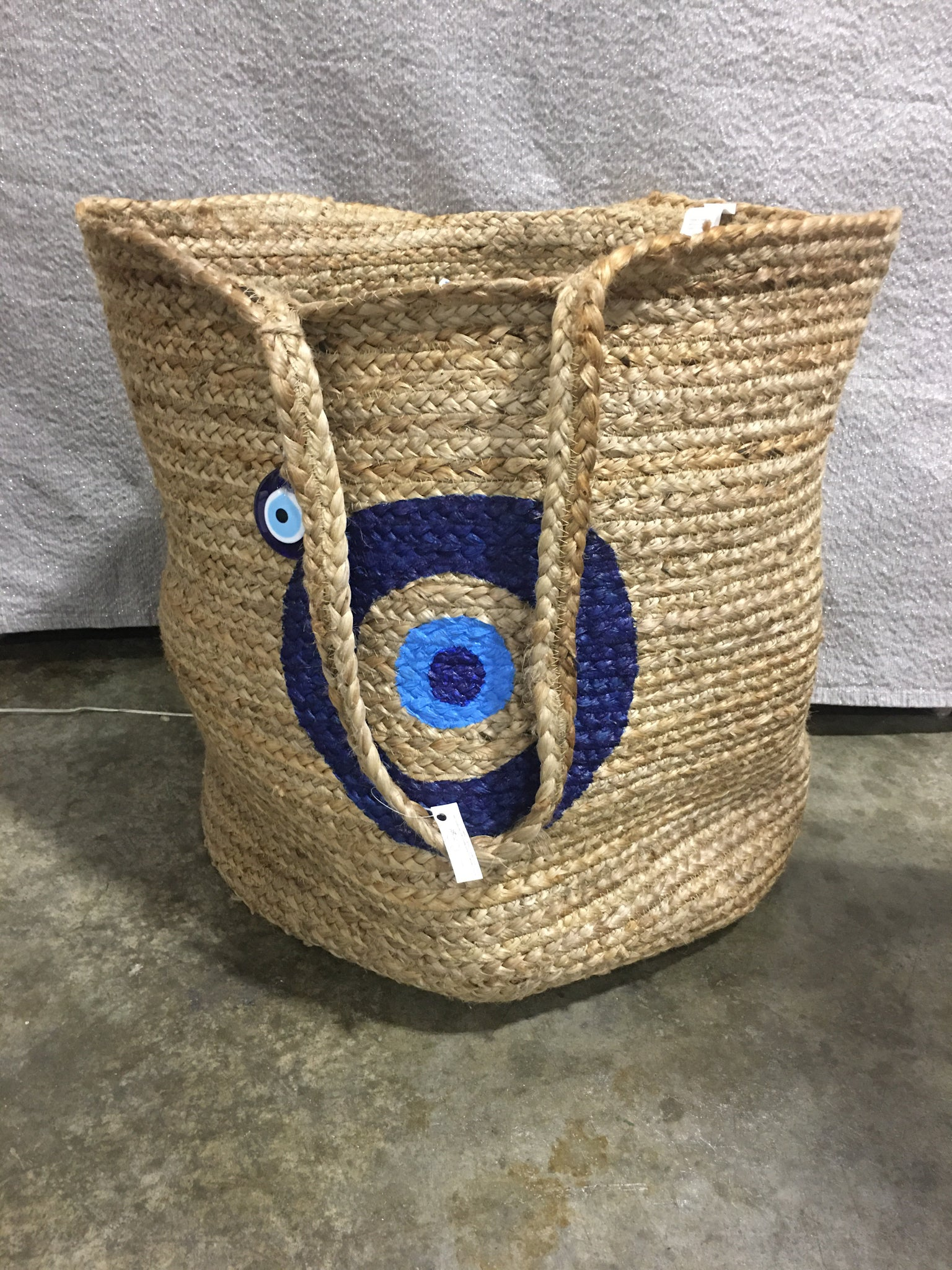 Evil Eye Natural Woven Jute Laundry Tote