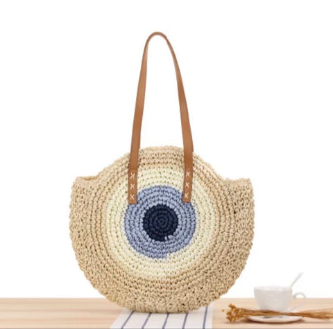 Handwoven Round Straw Shoulder Bag with Evil Eye Design