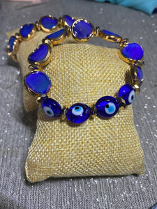 Hematite Gold and Sapphire Faceted Glass Evil Eye Bracelet
