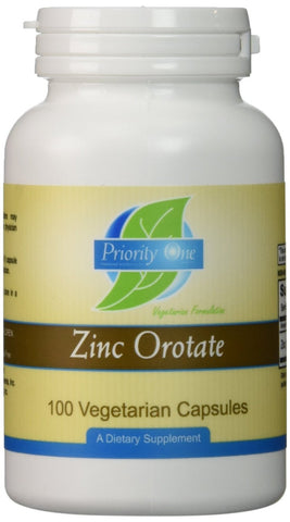 Priority One Zinc Orotate - 100 Vegetarian Capsules