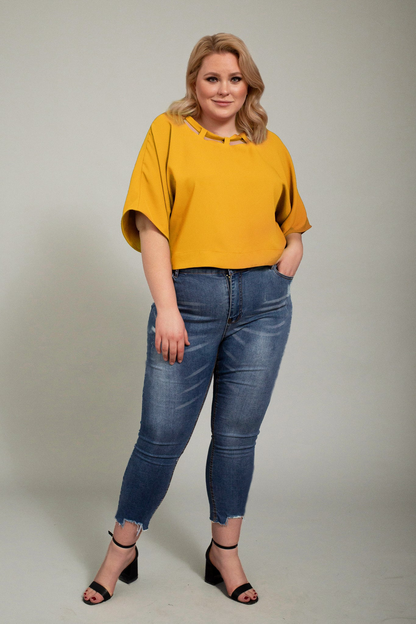 Plus Size Short Sleeve Top. Mustard Blouse