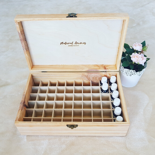 Large Essential Oil Wooden Storage Box (60 slot)