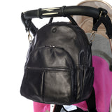 Joy Black Leather - Attached to a Pram with buggy clips
