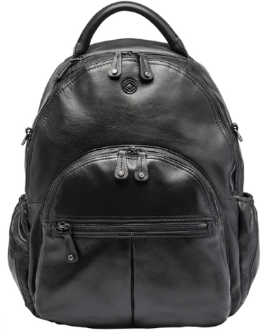 Joy Black Leather Backpack, Joy XL backpack, black leather backpack, leather backpack for him and her, classic multipurpose backpack, multipurpose backpack.