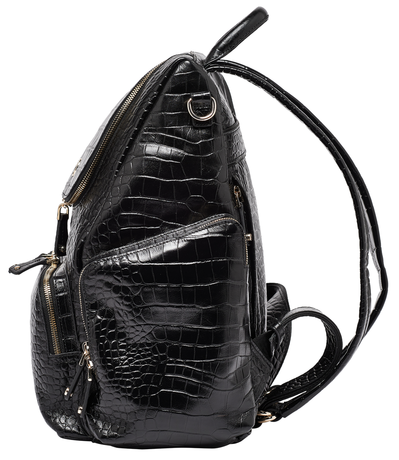 Amber Black Croc Embossed Leather Backpack