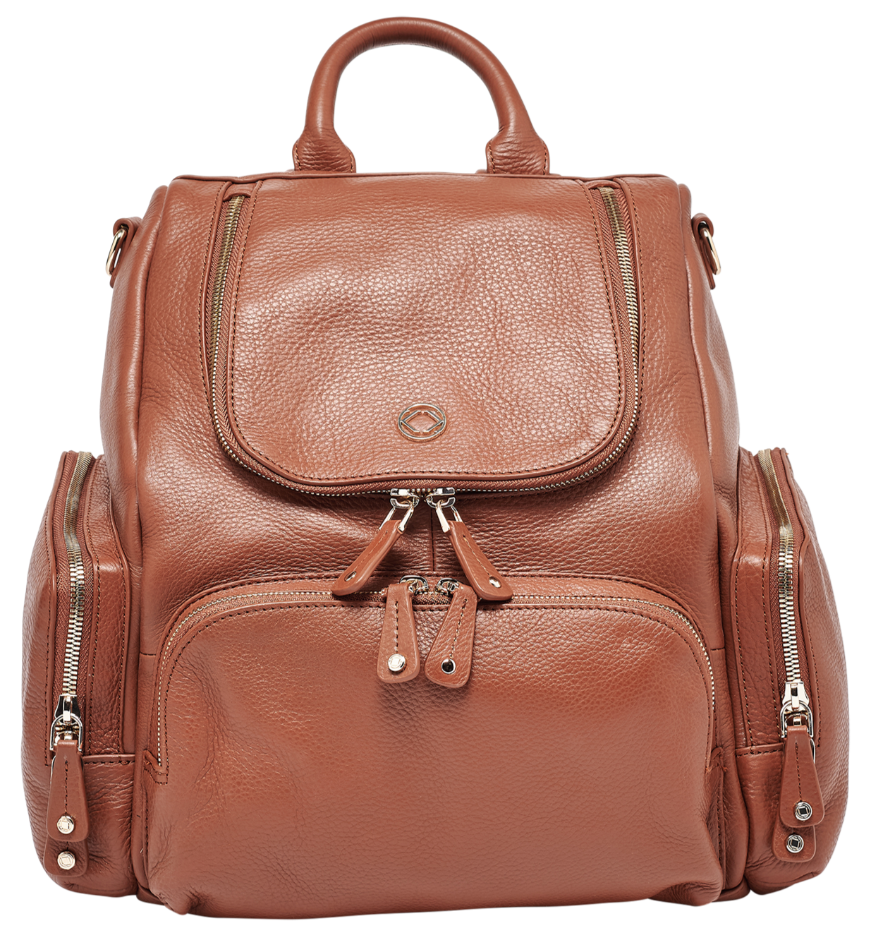 Luxury designer Amber Midi Tan leather organiser diaper changing backpack