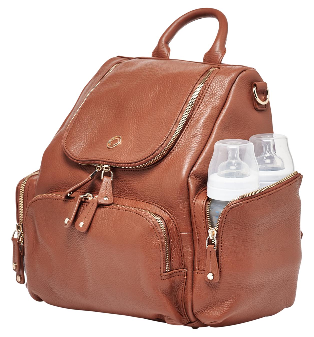 Luxury designer Amber Midi Tan leather organiser baby changing backpack