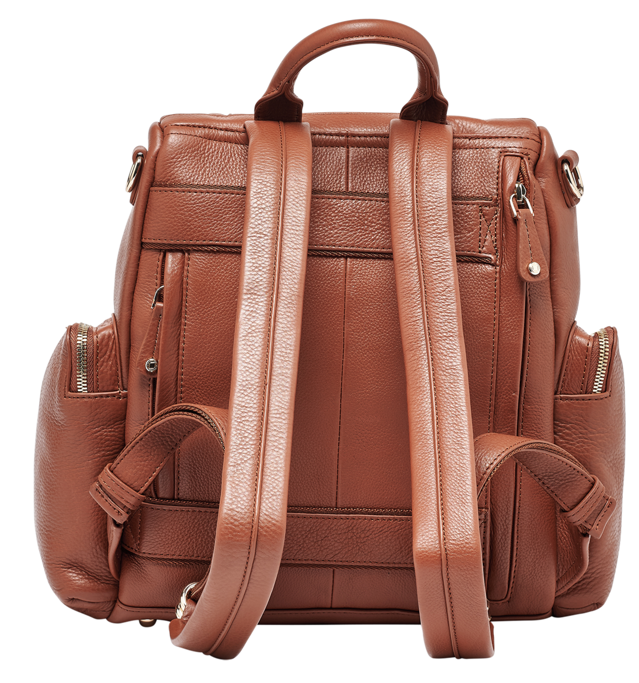 Amber Midi Tan Leather Backpack