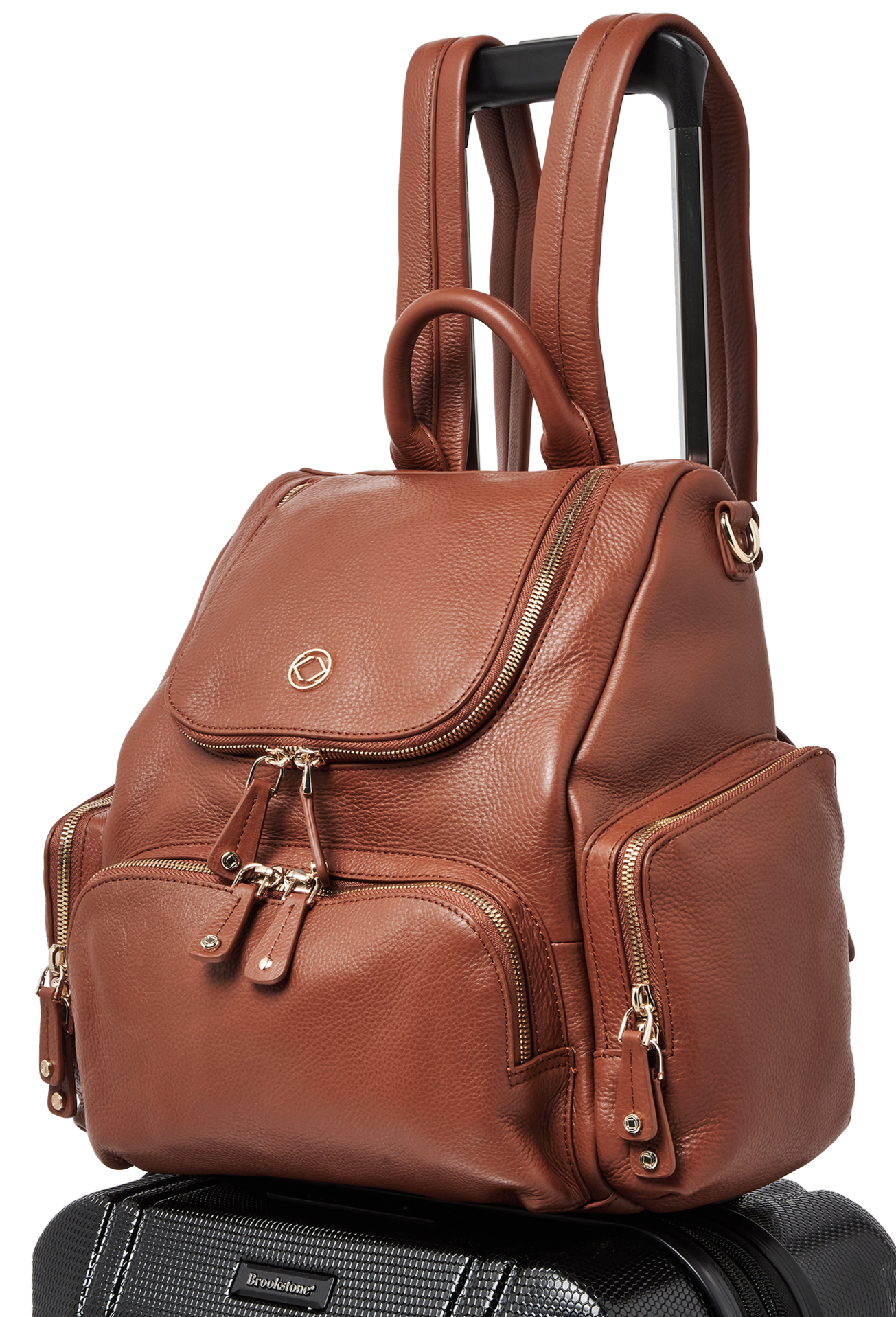 Luxury designer Amber Midi Tan leather organiser changing backpack