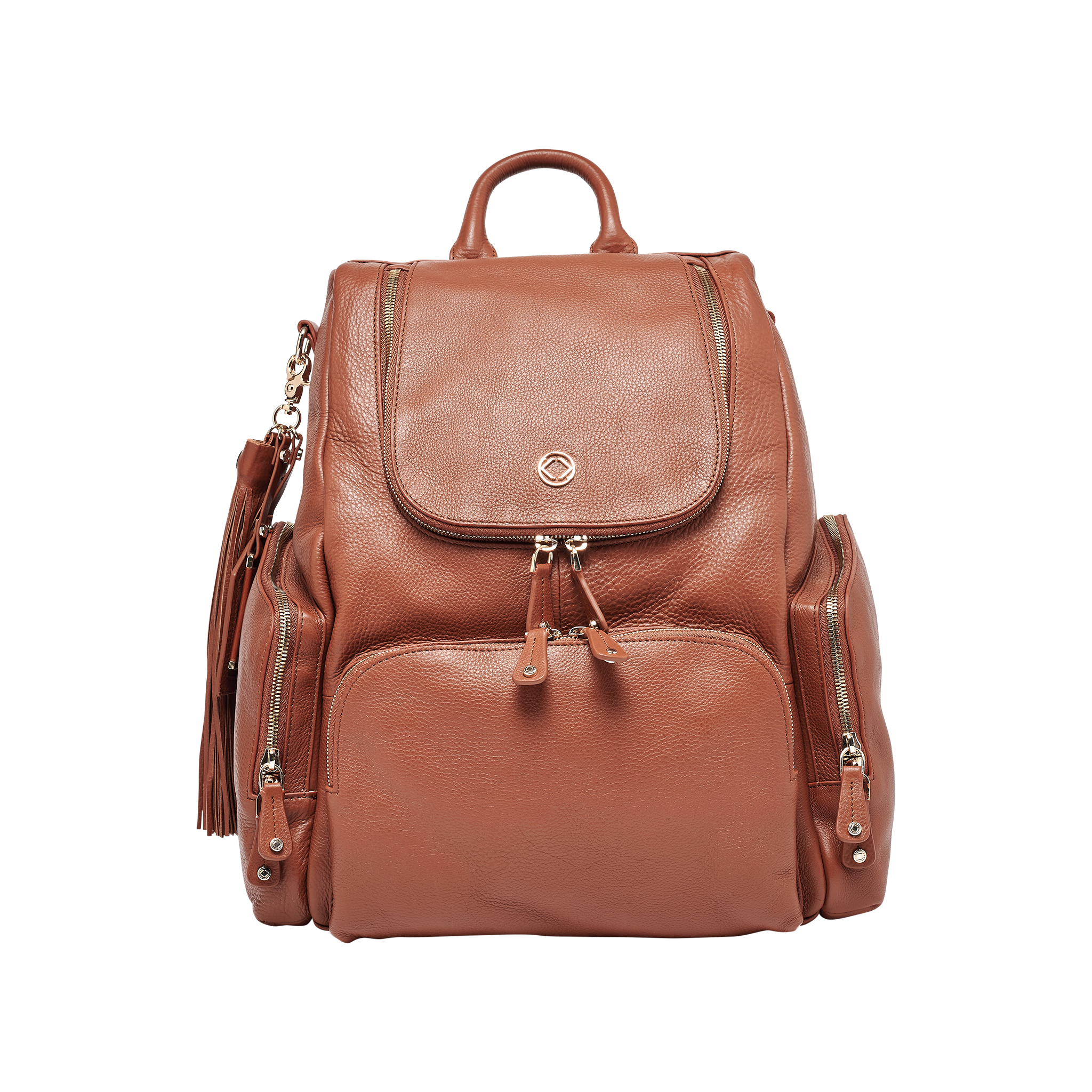 Amber Tan Leather Backpack