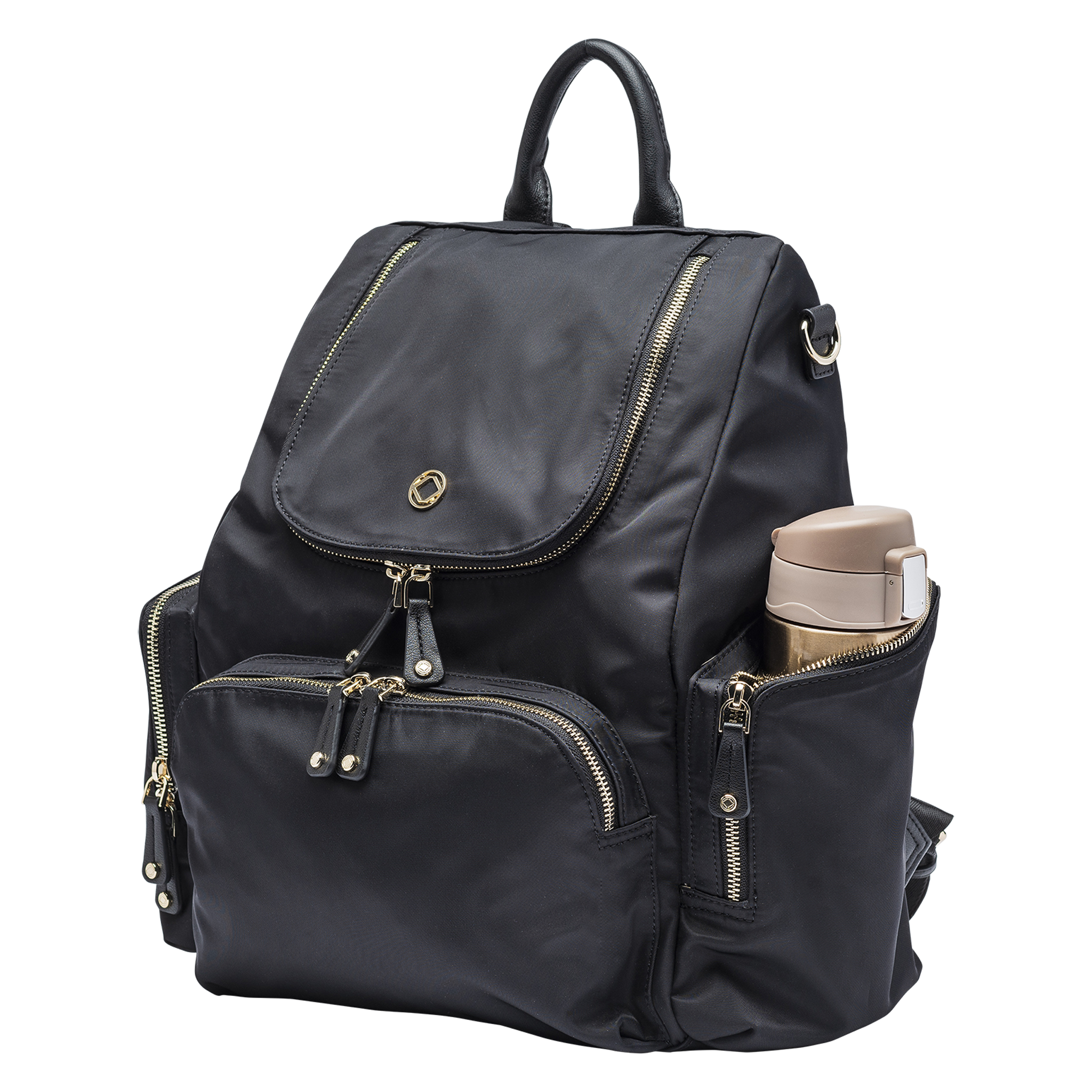 Black Nylon Backpack with flask in side pocket