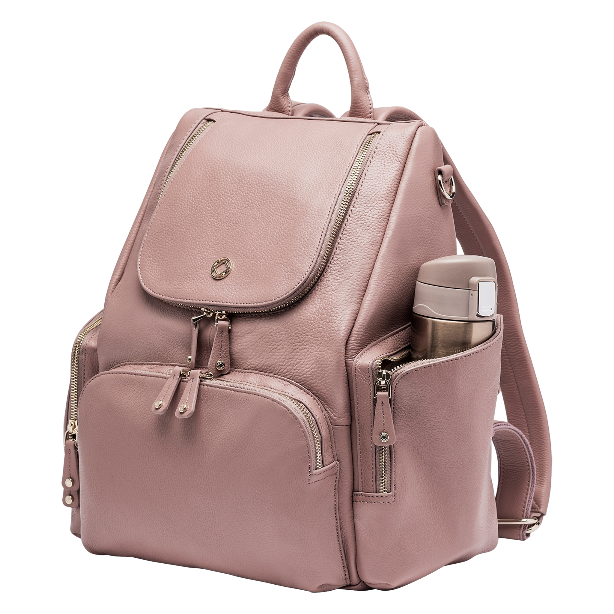 Amber Antique Rose Leather Backpack side view with flask in side pocket