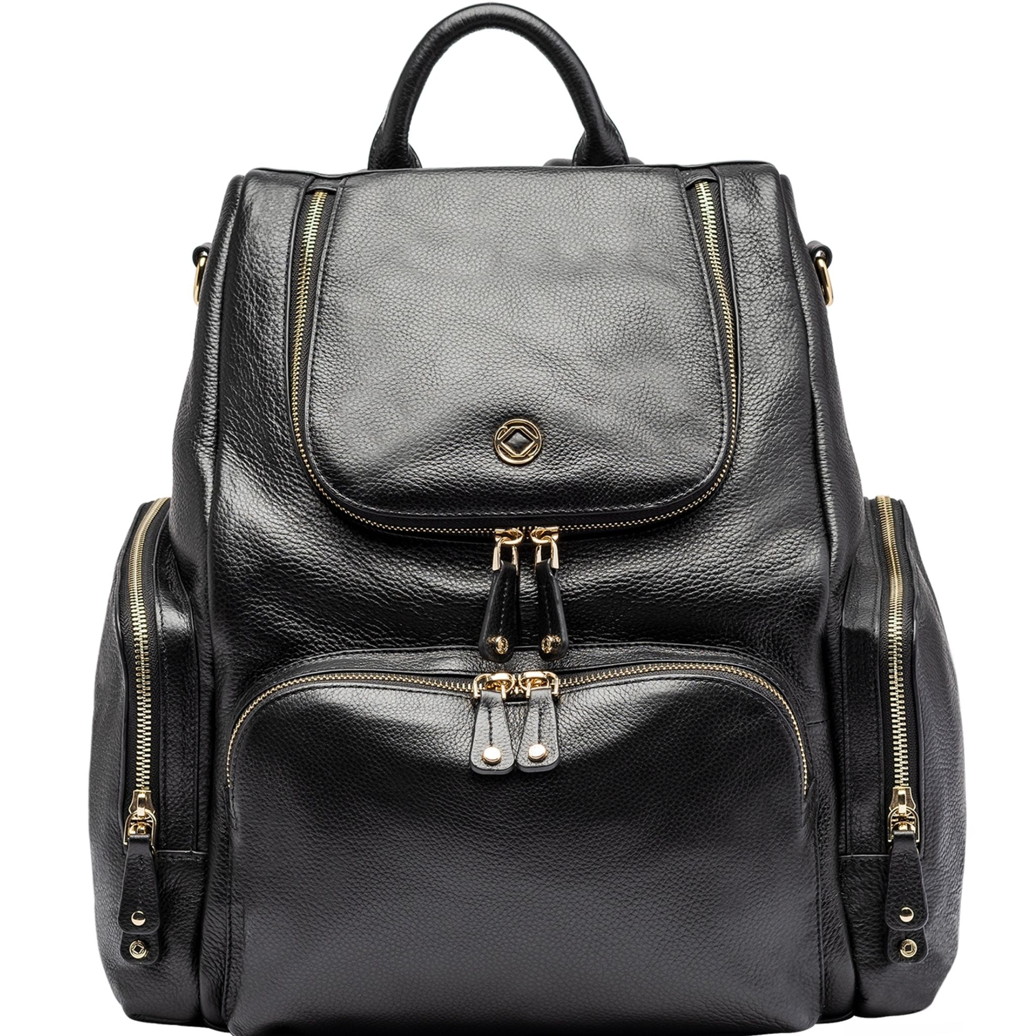 Luxury designer Amber black leather organiser changing backpack