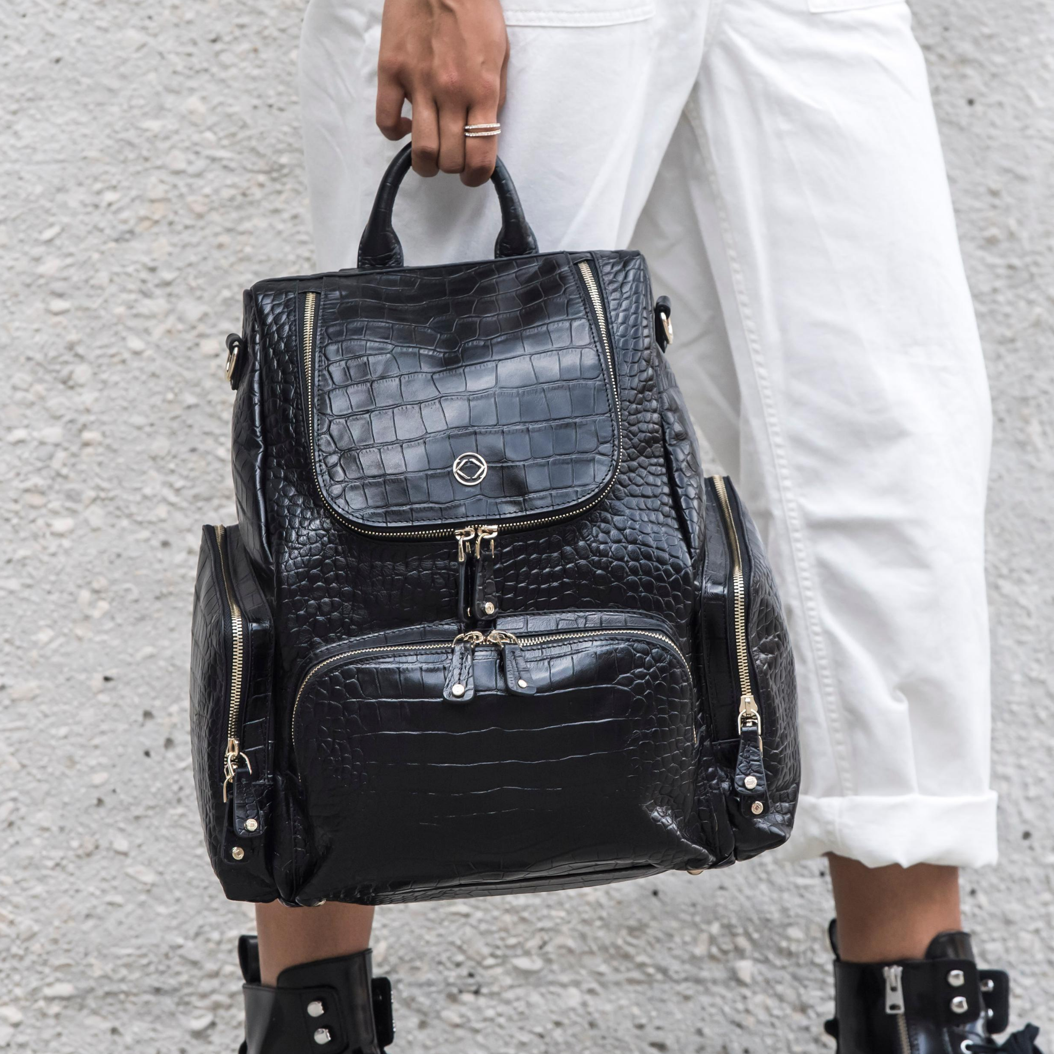 Fashion meets practicality with our black croc backpack. The perfect everyday bag for stylish busy women wanting to stay organised.