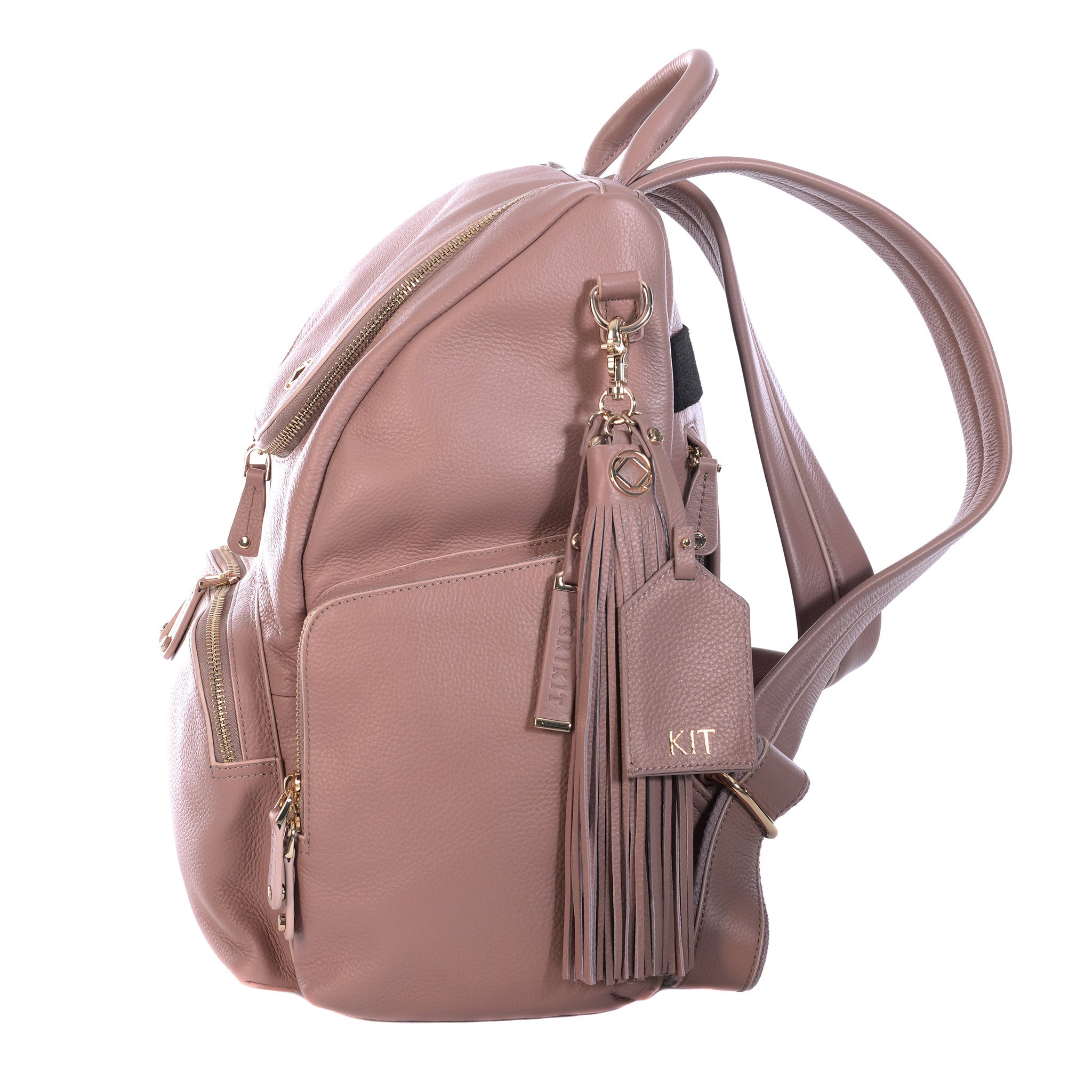 Amber Antique Rose Leather Backpack side view with personalised keychain