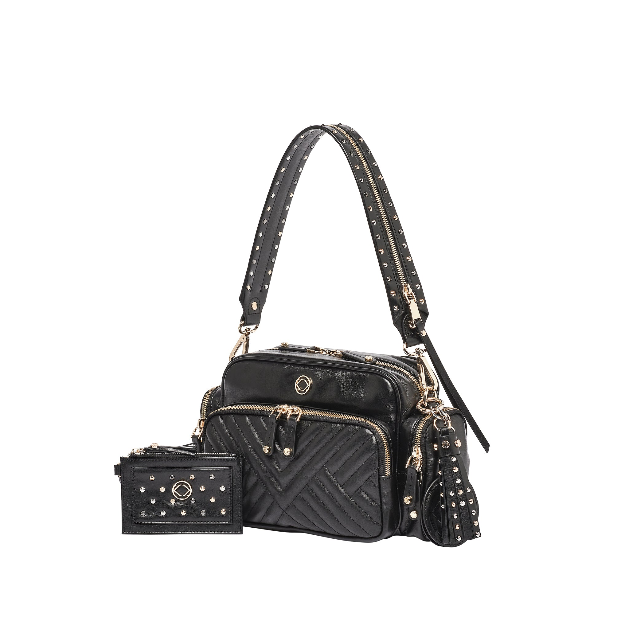 Luxury designer Greta Quilted black leather organiser baby changing bag with studded accessories