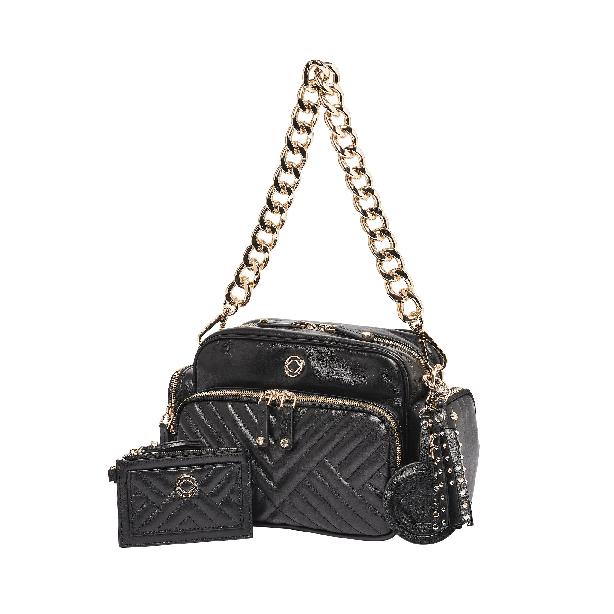 Luxury designer Greta Quilted   black leather organiser changing bag with chain strap