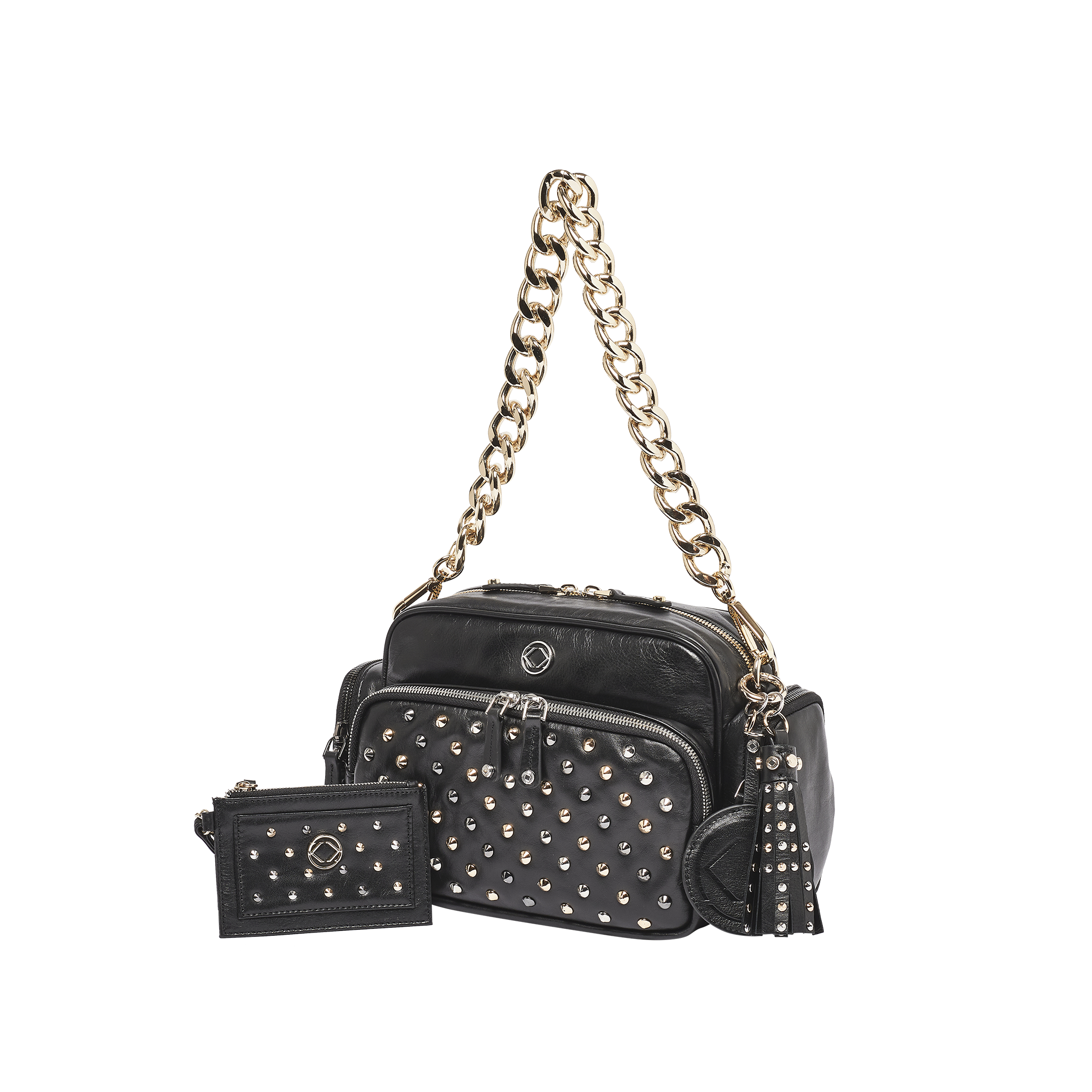 Luxury designer Greta  black studded leather organiser crossbody diaper changing bag with our luxurious chain strap