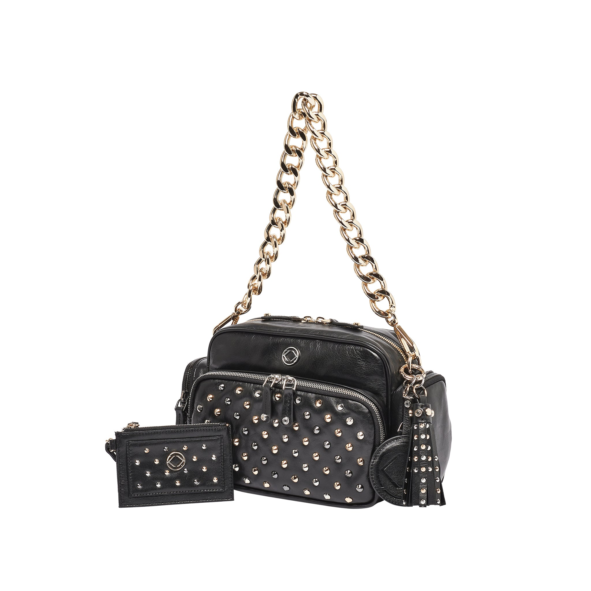 Luxury designer Greta Black Studded leather organiser baby changing bag with chain strap
