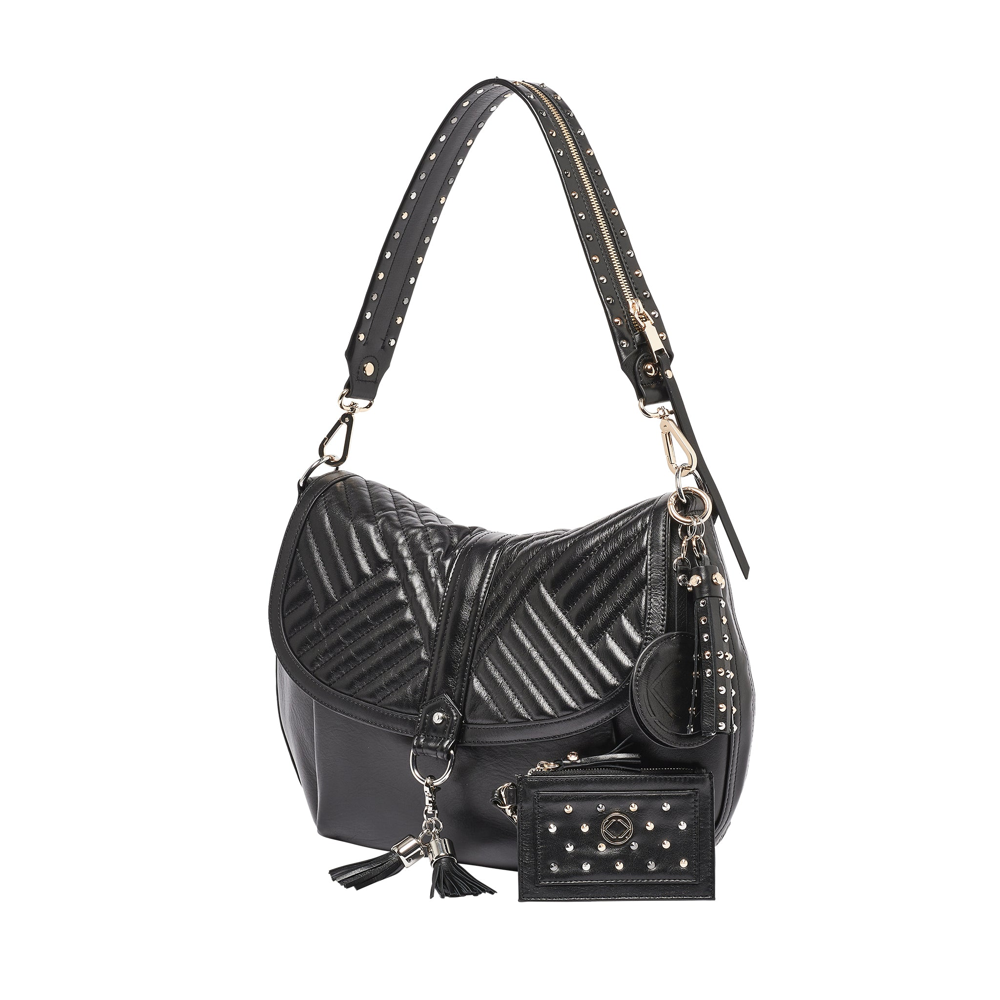 Luxury designer Jones quilted black leather organiser crossbody changing bag with our luxurious Gretchen studded strap