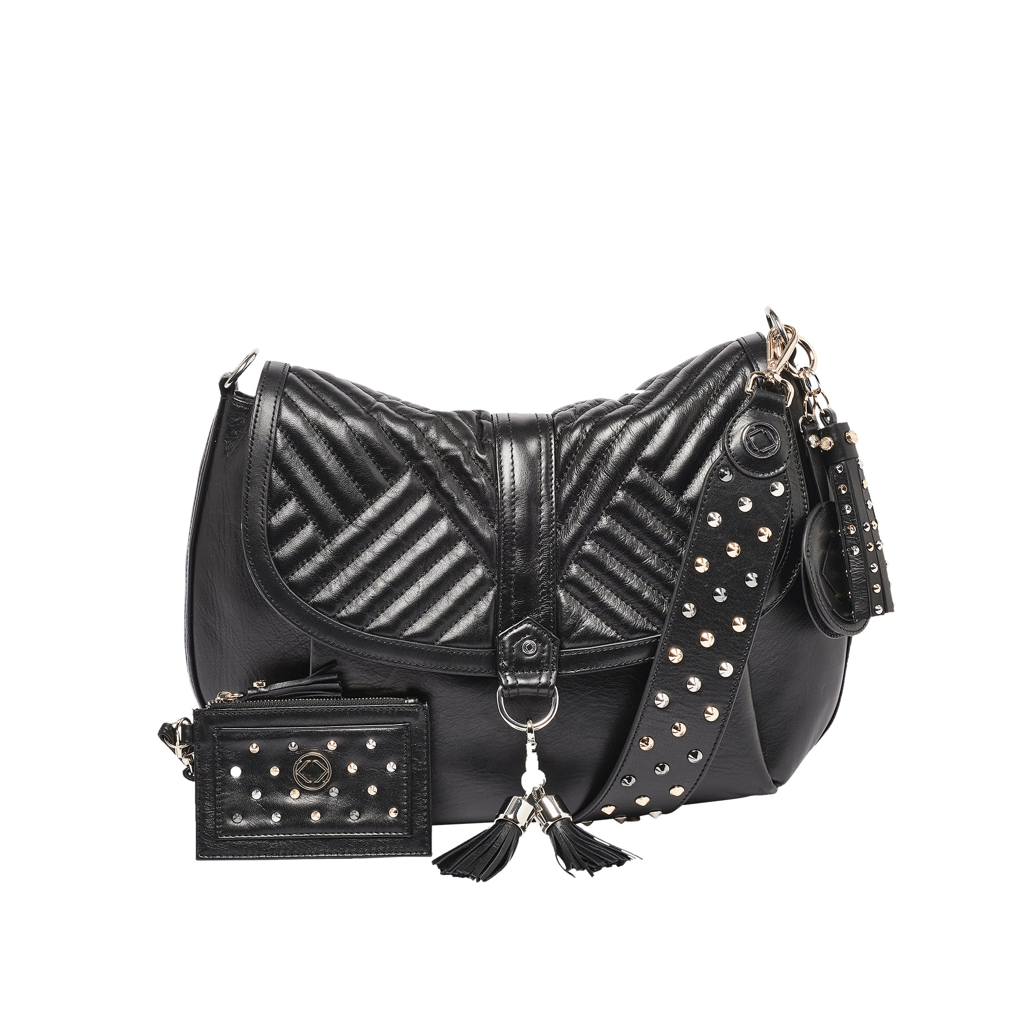 Luxury designer Jones quilted black leather organiser crossbody changing bag with our luxurious Stevie studded strap