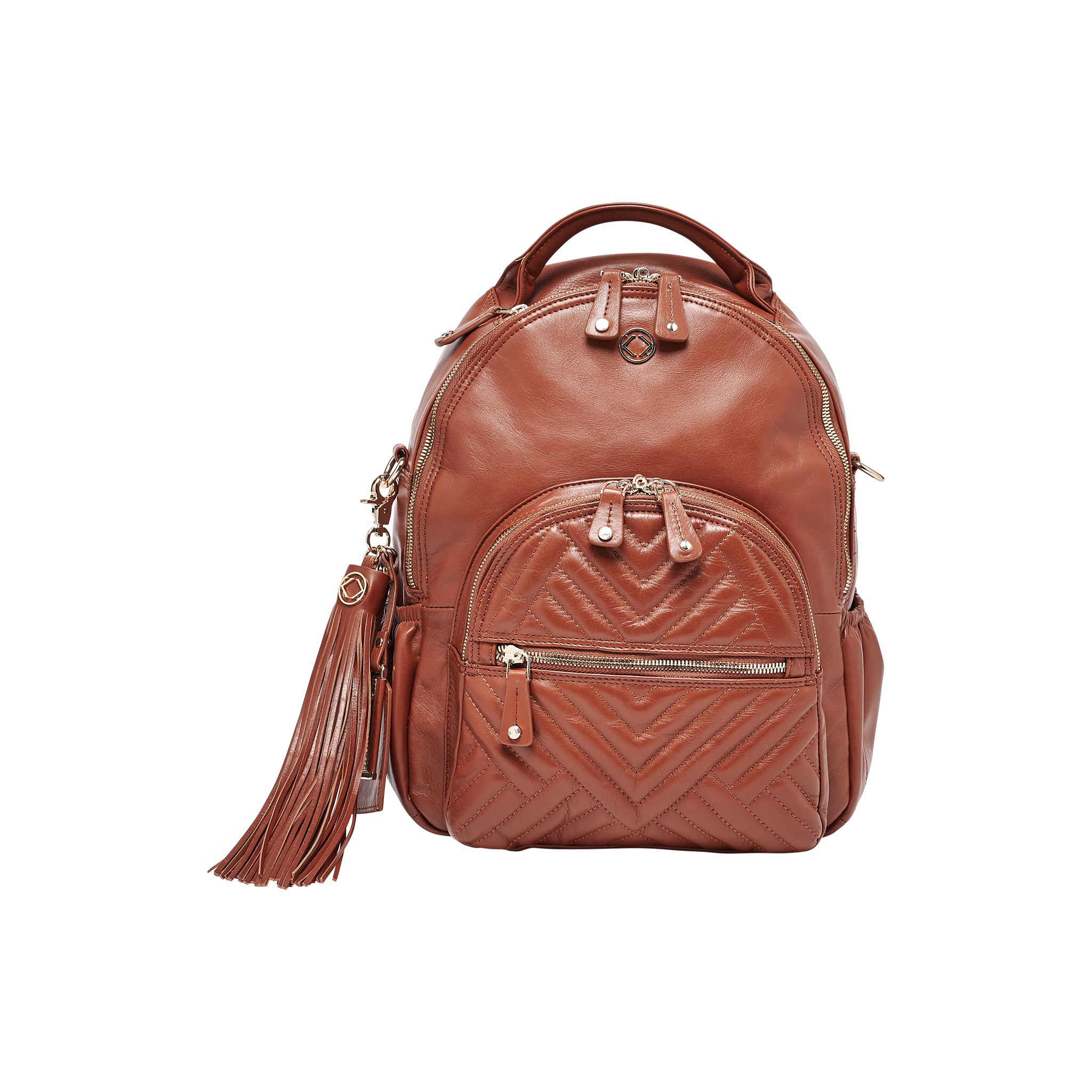 Joy Midi Tan Quilted Leather Backpack