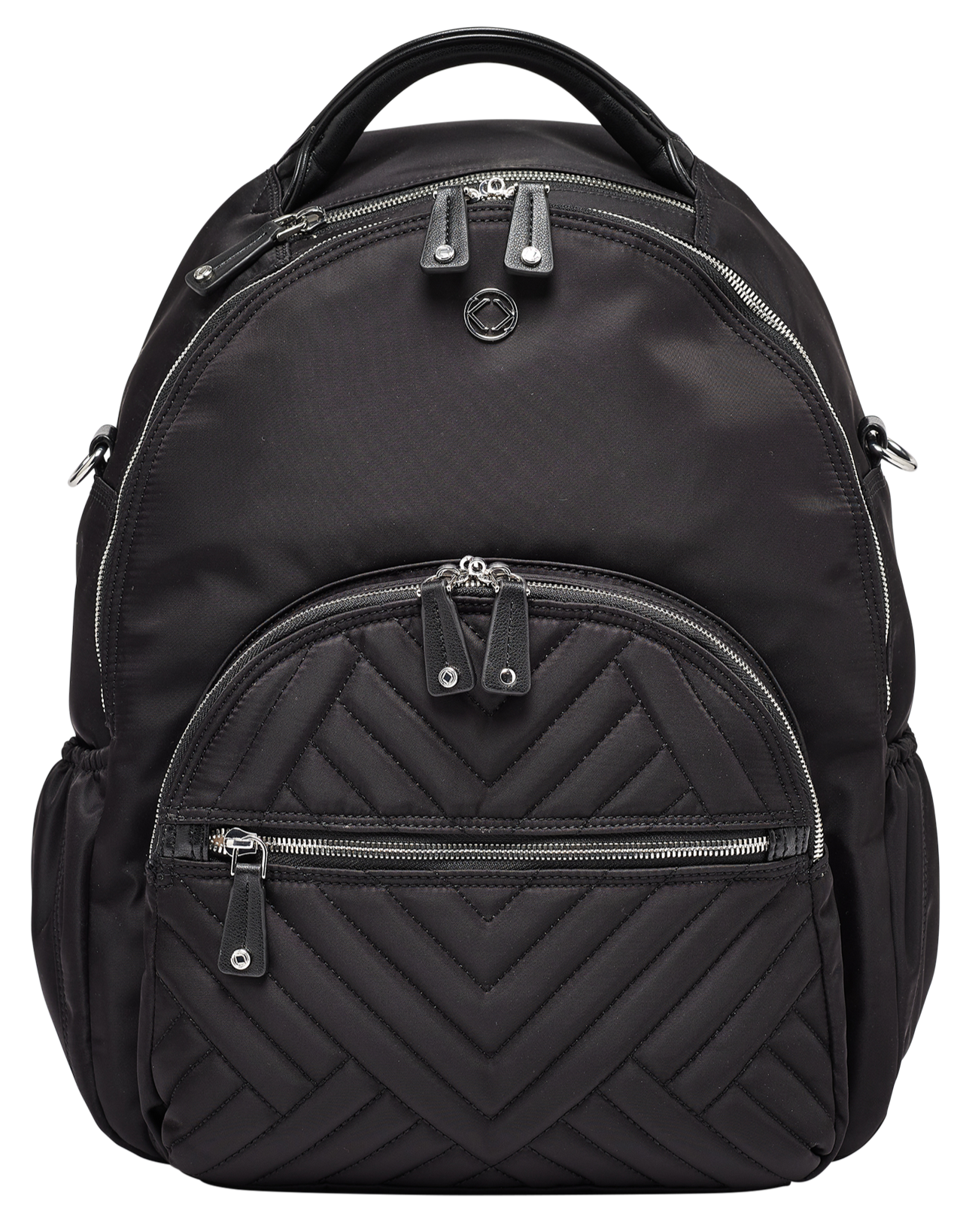 Joy XL Black Nylon Quilted Leather Backpack