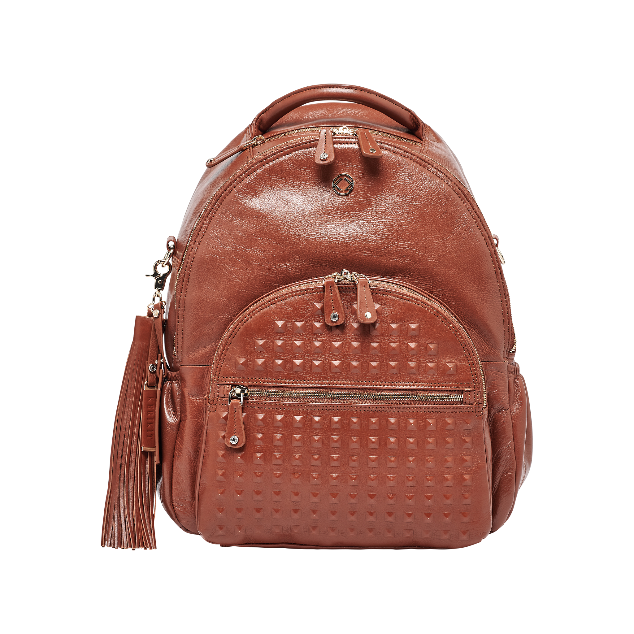Joy XL Studded Tan Leather Backpack