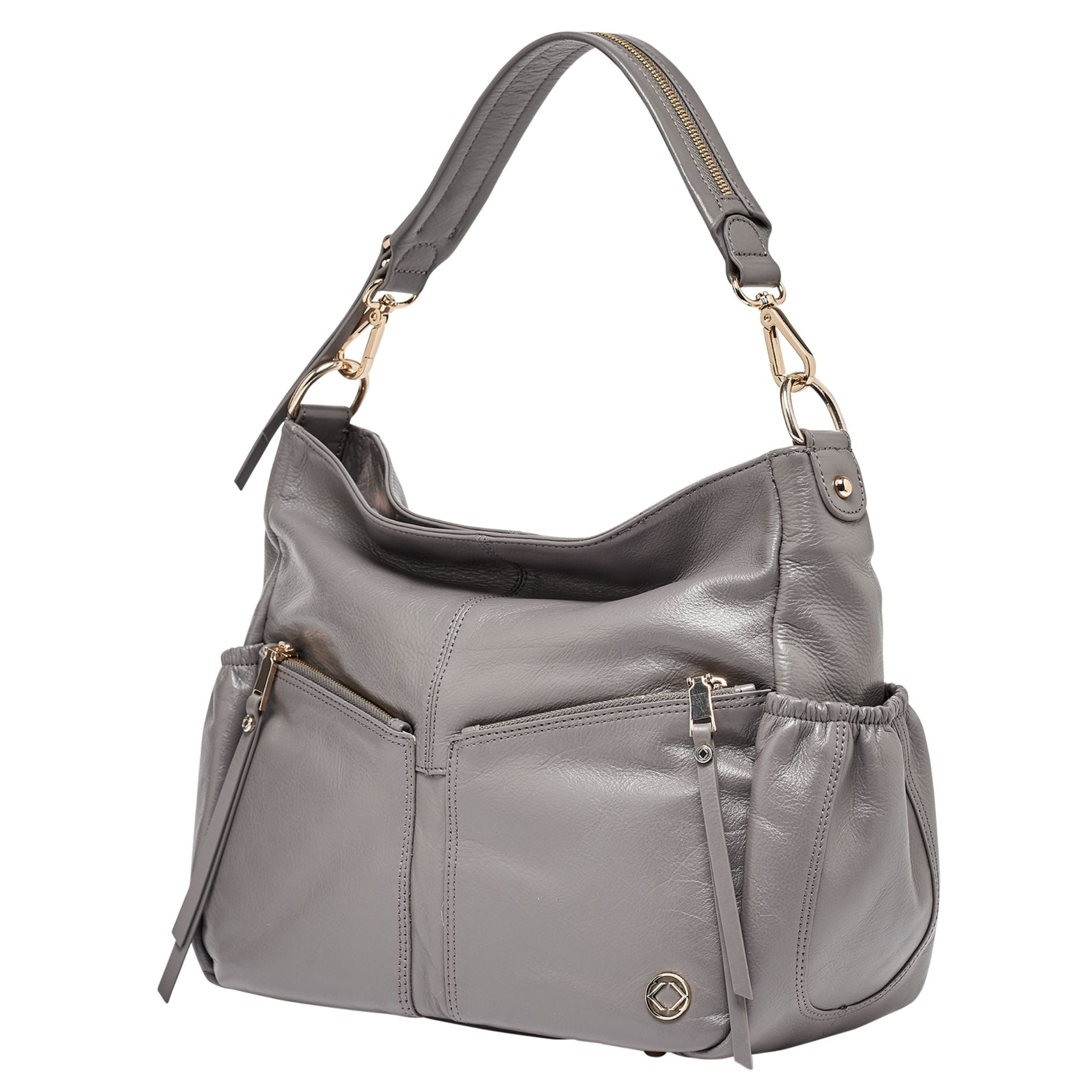 Luxury designer Lennox Midi Dark Grey leather organiser baby changing bag