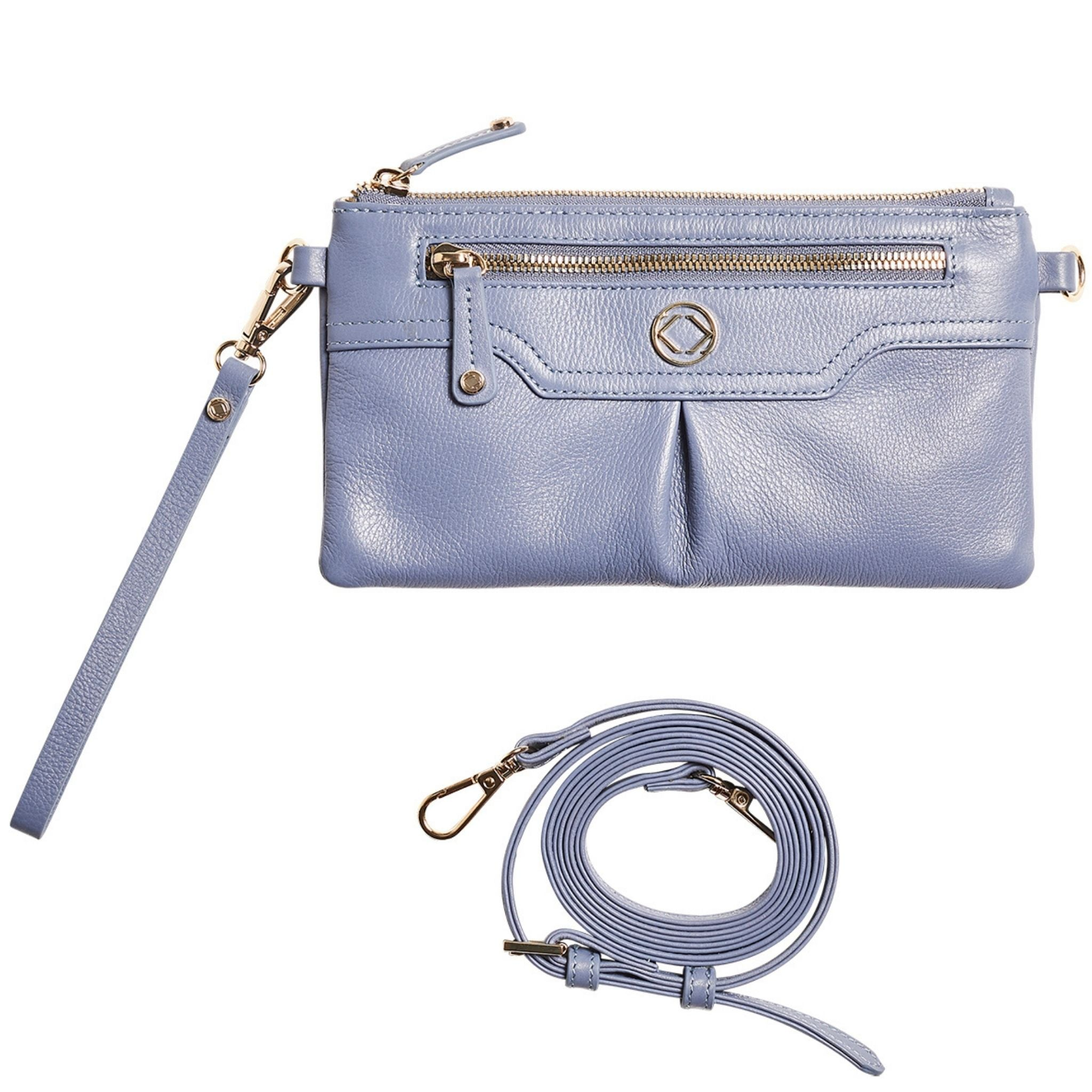 Luxury designer Teddy vintage blue leather organiser crossbody clutch