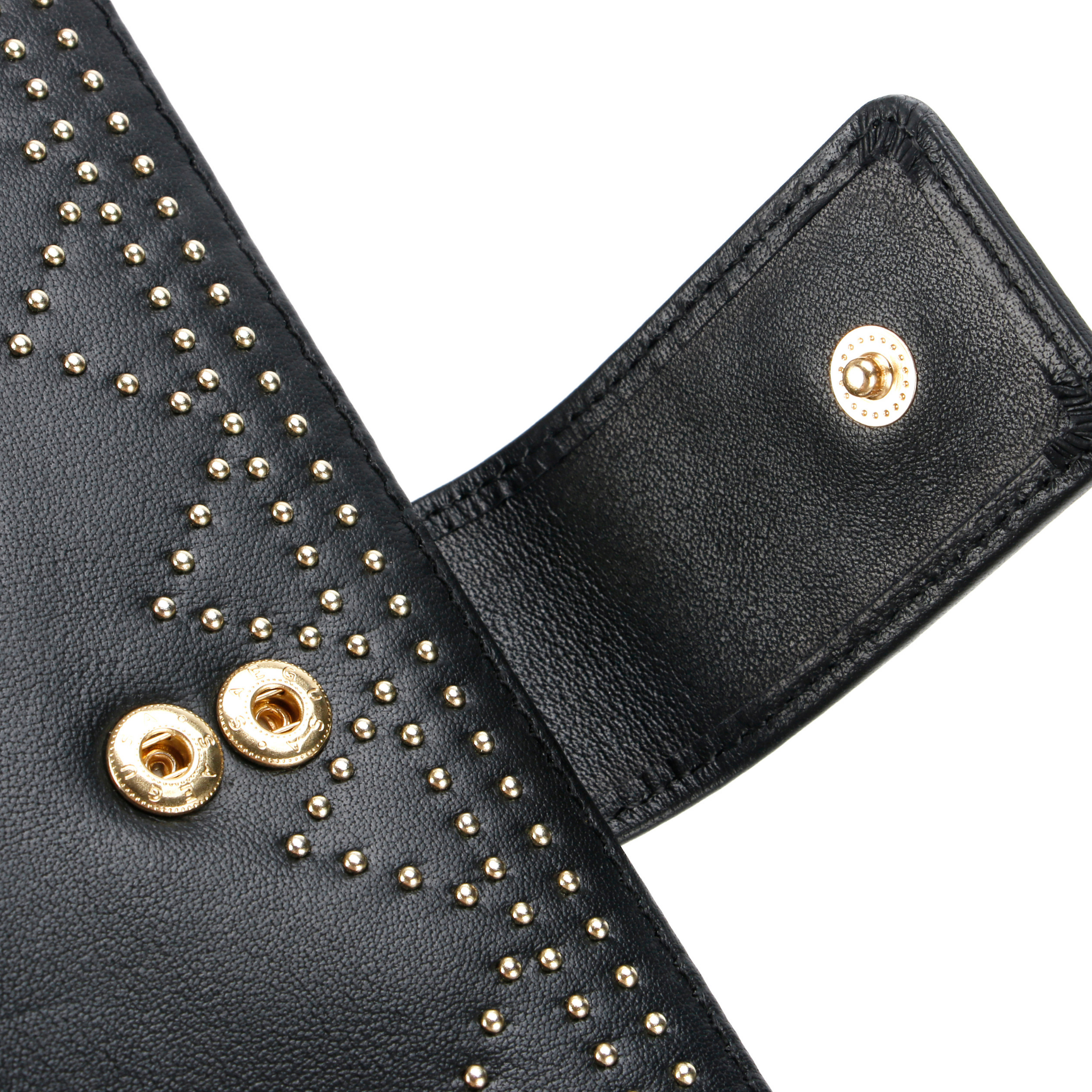 Black studded leather purse, perfect for cards, notes and coins. Image shows safety lock, front view opened.