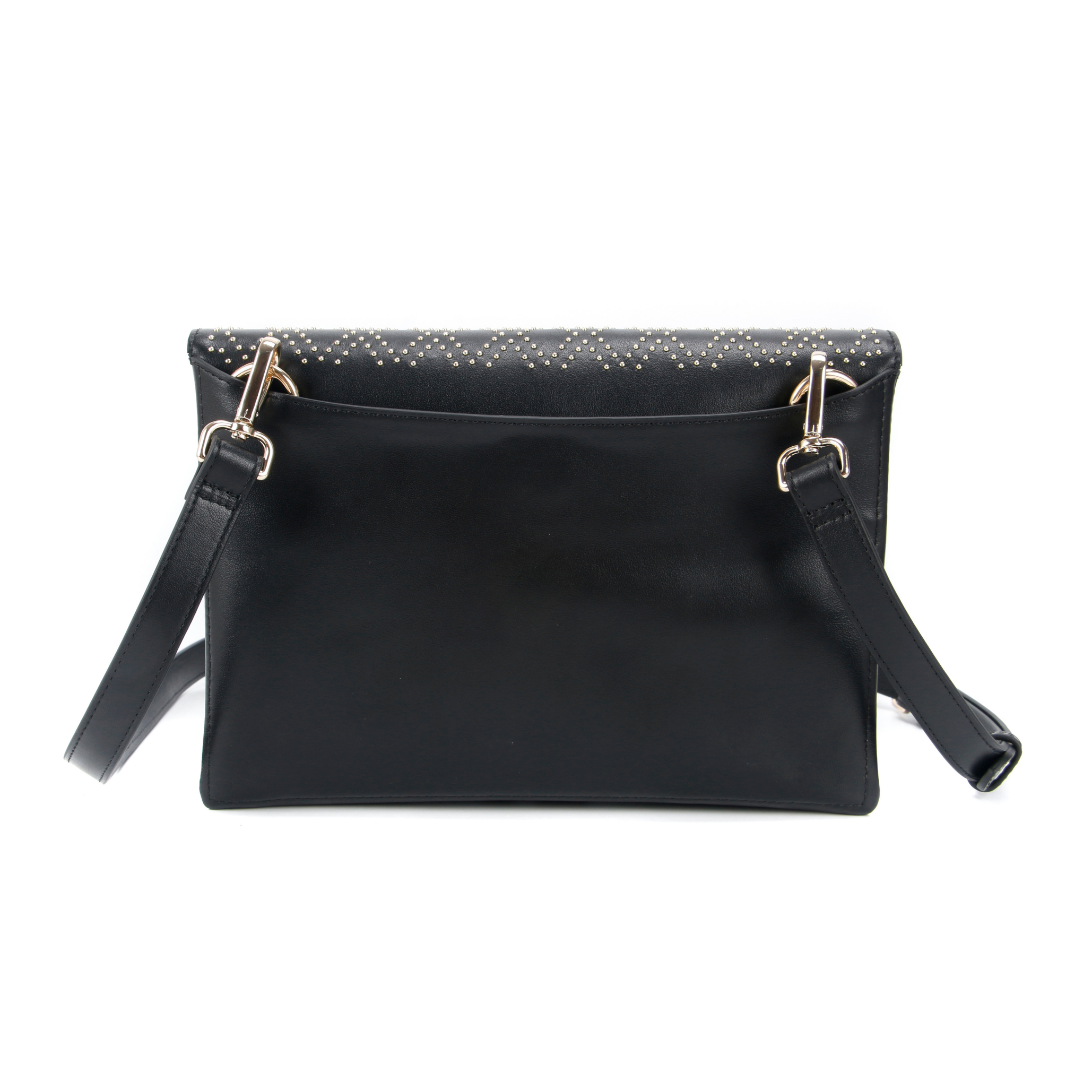 Black leather purse with cross body strap, images shows a back view of the purse. Perfect for date night.