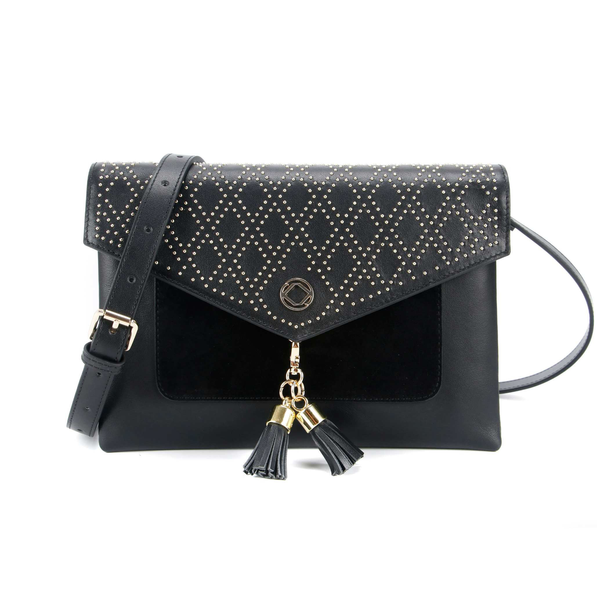 Black studded leather clutch and cross body bag -front view. trimmed with suede and removable tassels